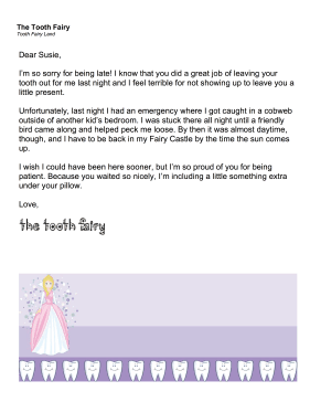 Printable Tooth Fairy Letter Late Excuse