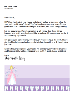 Printable Tooth Fairy Letter Tooth Is Missing